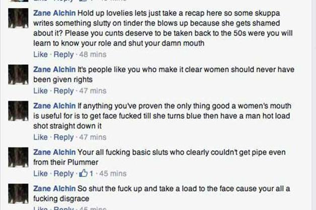 """Alguns excertosdas ameaças e ofensas: """"Suas putas, merecem voltar para os anos 1950 para aprenderem os seus papéis e calarem a boca""""; """"São pessoas como tu que deixam claro porque é que as mulheres não devem ter direitos""""; """"Tu provas que a boca de uma mulher só serve para ser fodida até que a mulher fique azul e depois receber o sémen de um homem na cara""""."""