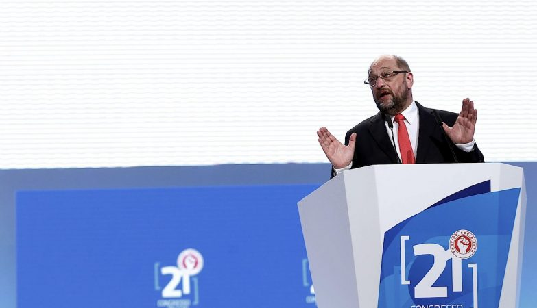 O presidente do Parlamento Europeu, Martin Schulz, durante o seu discurso no 21º Congresso do PS