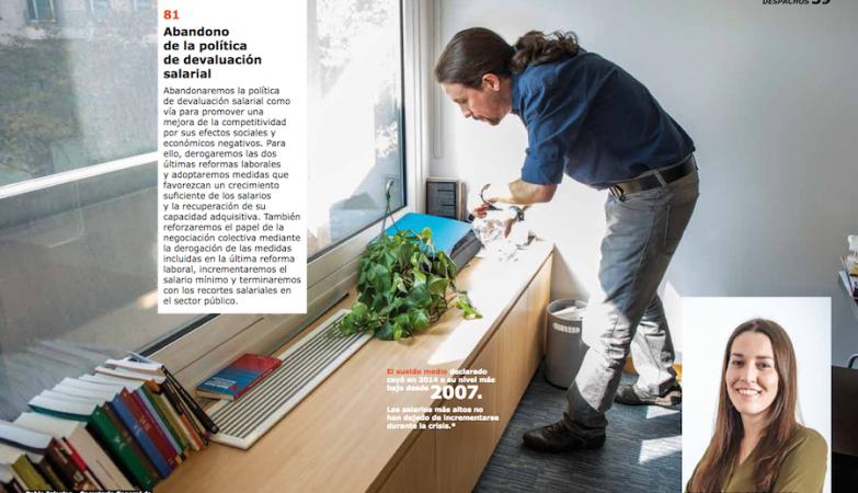 Pablo Iglesias no novo programa eleitoral do Podemos, inspirado nos já conhecidos catálogos do IKEA