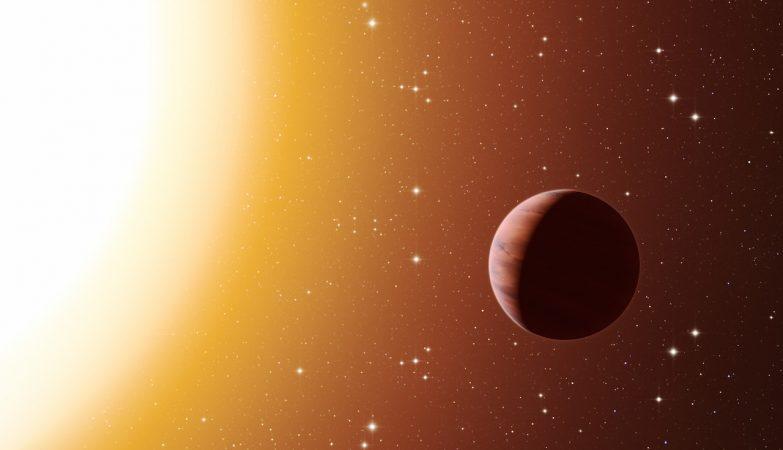 Impressão artística de um planeta do tipo de Júpiter quente em órbita próximo de uma das estrelas do rico e velho enxame estelar Messier 67, situado na constelação de Caranguejo.