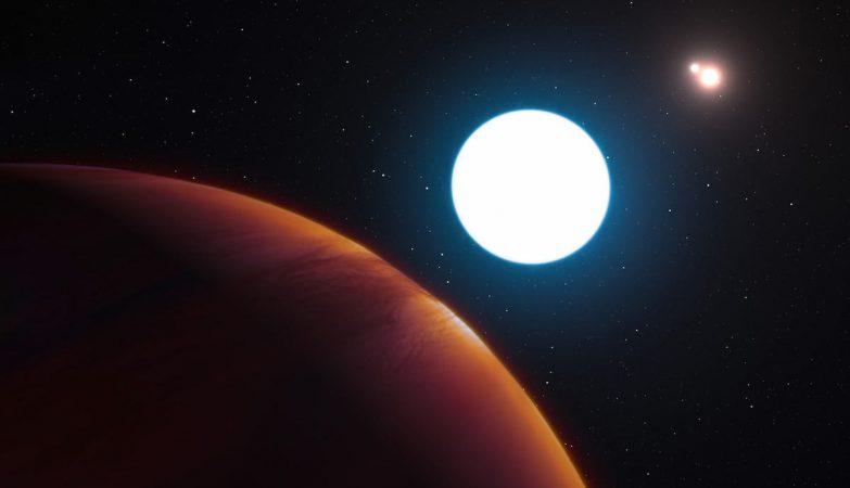 Conceito artístico de uma perspectiva do sistema solar triplo HD 131399