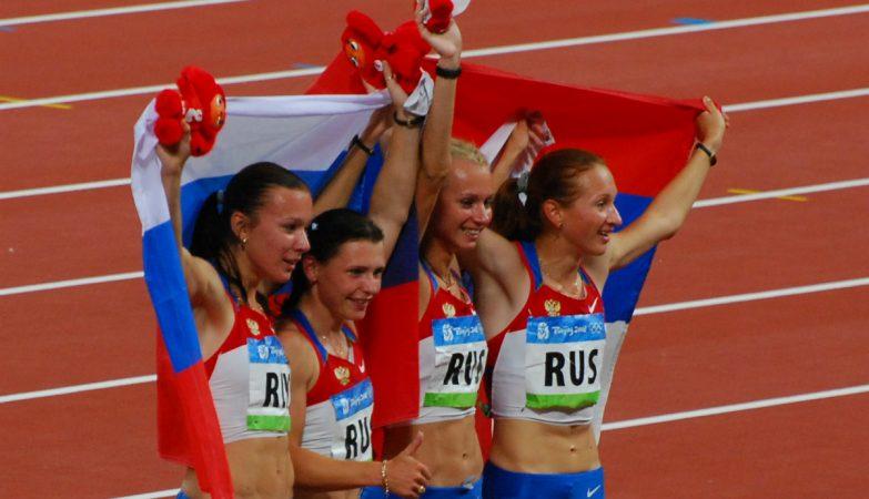 As russas Evgeniya Polyakova, Aleksandra Fedoriva, Yulia Gushchina e Yuliya Chermoshanskaya nos Jogos Olímpicos de Pequim, em 2008