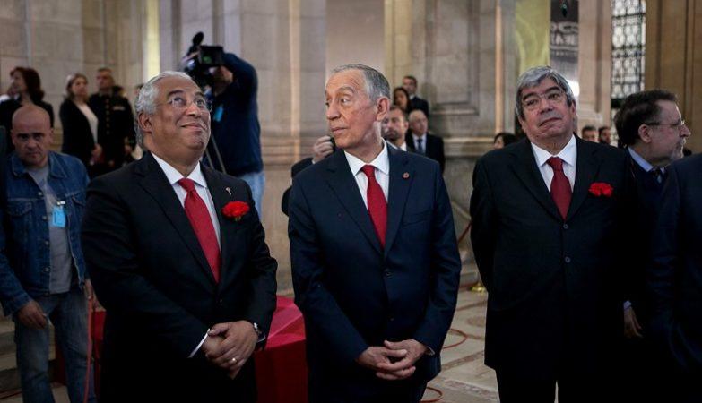 O Primeiro-Ministro António Costa, o Presidente da República Marcelo Rebelo de Sousa e o presidente da Assembleia da República Eduardo Ferro Rodrigues