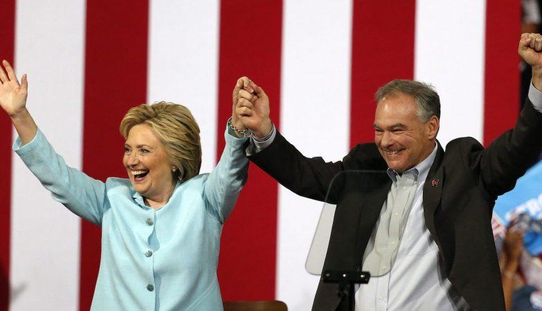 Hillary Clinton apresenta o seu candidato a vice-presidente, Tim Kaine