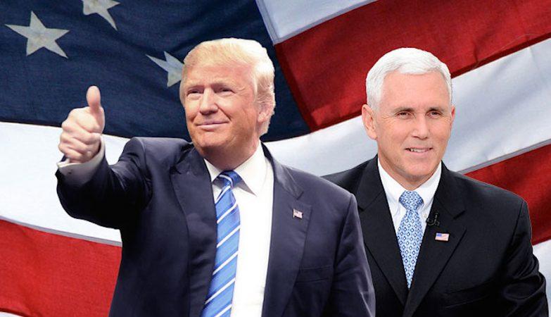 Donald Trump com o seu candiodato a vice-presidente, Mike Pence