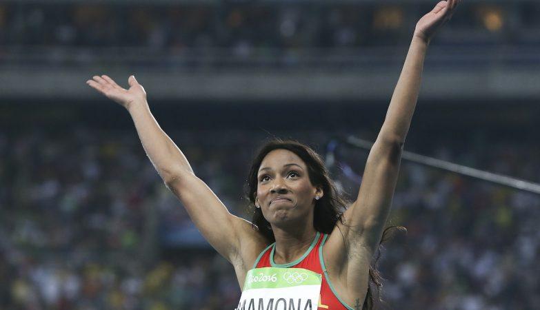 A atleta portuguesa Patrícia Mamona na final do triplo salto no Rio 2016