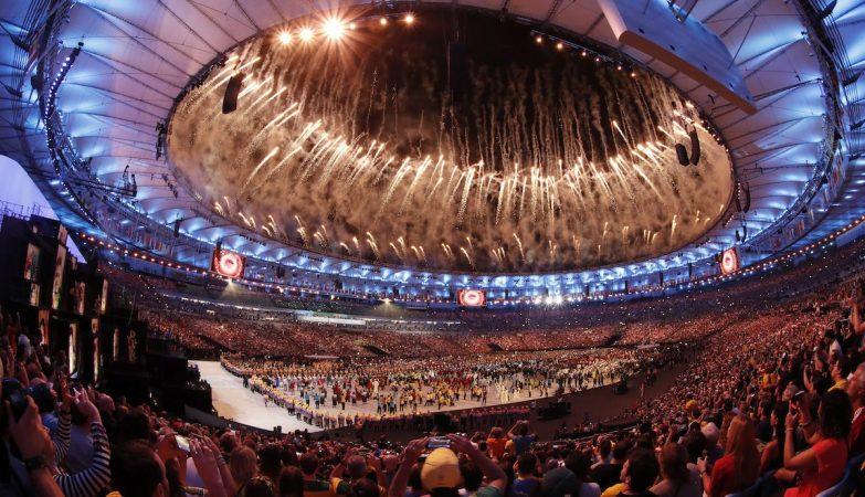Vista do Estádio do Maracanã na Cerimónia de abertura dos Jogos Olímpicos do Rio de Janeiro 2016