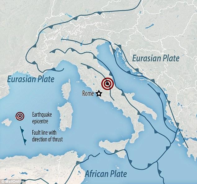 A Itália está no limite das placas tectónicas de África e da Eurásia