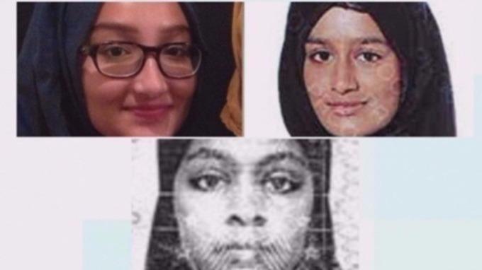 Kadiza Sultana (em cima, à esquerda), Shamima Begum e Amira Abase
