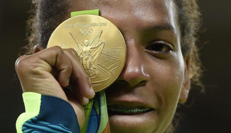 A judoca brasileira Rafaela Silva, medalha de ouro nos Jogos Olímpicos do Rio de Janeiro