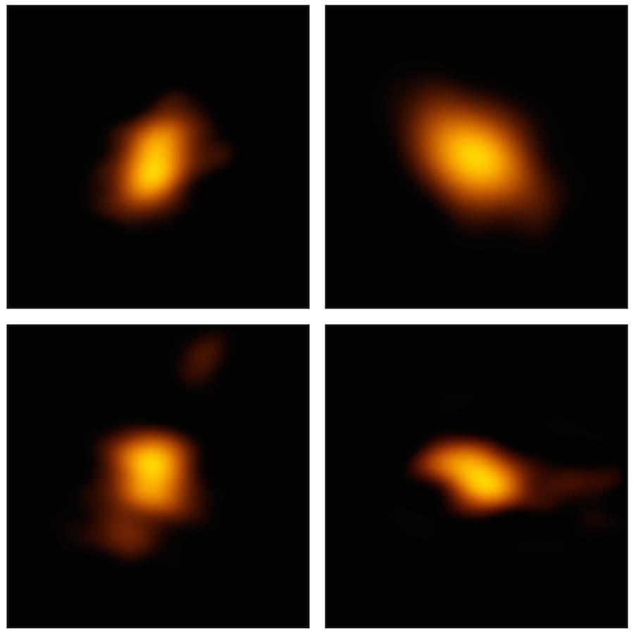 Quatro dos 24 discos de detritos observados pelo ALMA na Associação Escorpião-Centauro. Os investigadores foram surpreendidos ao descobrir que as maiores e mais energéticas estrelas retinham muito mais gás nos seus discos de detritos do que estrelas mais pequenas parecidas com o Sol.