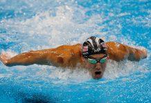 O nadador norte-americano Michael Phelps nos 200m mariposa nos Jogos Rio 2016