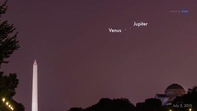 Vénus e Júpiter encontram-se no céu noturno na noite do dia 27 de agosto
