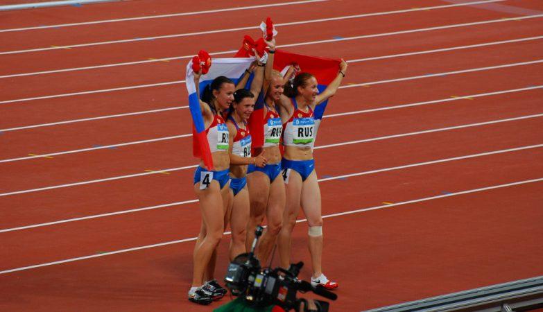 O quarteto russo Evgeniya Polyakova, Aleksandra Fedoriva, Yulia Gushchina e Yuliya Chermoshanskaya