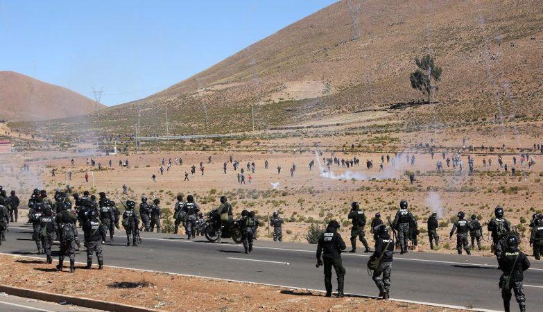 Protesto de mineiros na Bolívia