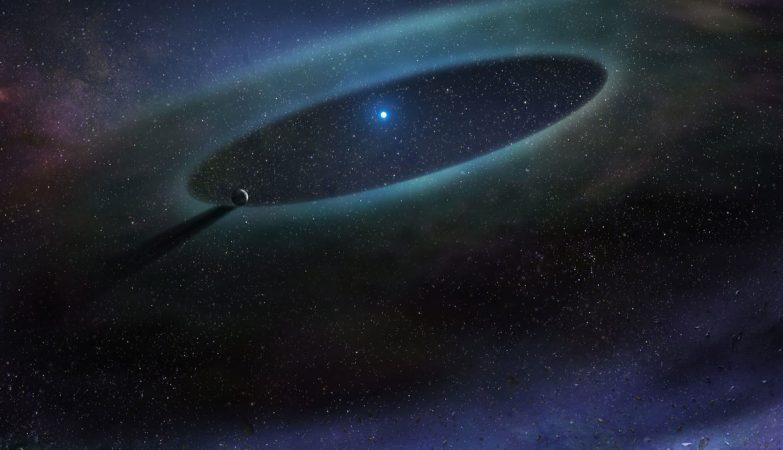 Impressão de artista de um disco de detritos em redor de uma estrela na Associação Escorpião-Centauro.