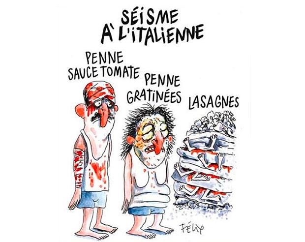 Cartoon do Charlie Hebdo sobre o sismo em Itália