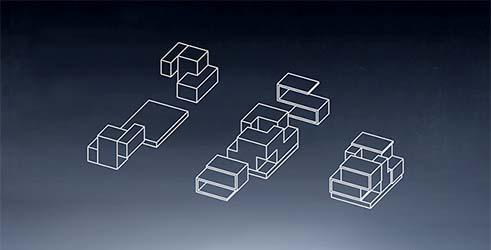 """A casa """"pré-nupcial"""" divide-se em módulos em caso de separação do casal."""