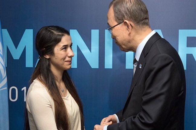 Nadia Murad, sobrevivente do Daesh nomeada embaixadora da ONU, com Ban Ki-Moon