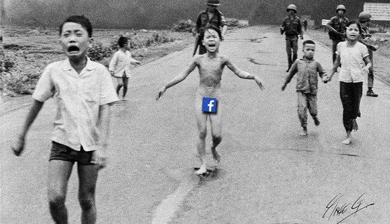 Imagem do cartoonista dinamarquês Inge Grodum que critica a censura do Facebook à foto histórica de Nick Ut.