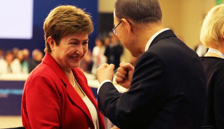 A comissária europeia Kristalina Georgieva e Ban Ki-moon, secretário-geral da ONU