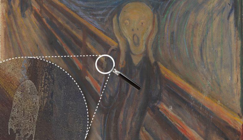"""Pormenor da mancha no quadro """"O Grito"""", de Edvard Munch"""