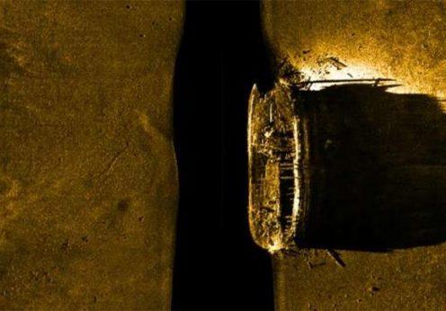 Destroços do H.S.M. Terror, barco desaparecido no Árctico numa expedição em 1848.