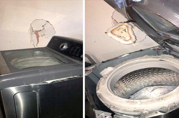 Máquinas de lavar da Samsung que terão explodido