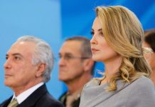 O presidente do Brasil, Michel Temer, e a mulher, a jurista Marcela Temer