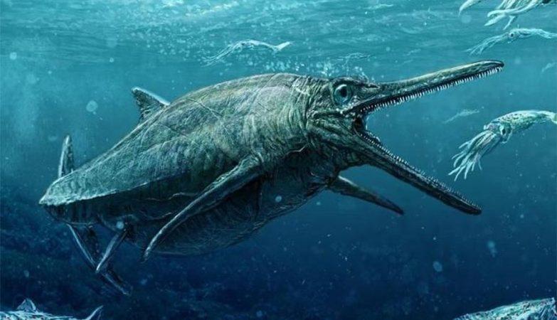 Ilustração do Monstro do Lago Storr, cujo fóssil jurássico foi encontrado na Ilha de Skye, Escócia.