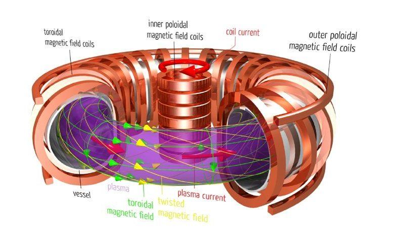 Esquema tradicional em forma de donut de um tokamak, dispositivo que usa poderosos ímanes para confinar plasma num circuito toroidal