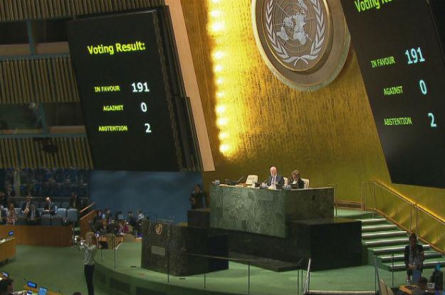 Sessão na Assembleia-Geral da ONU para votação na resolução que pede o fim do embargo a Cuba