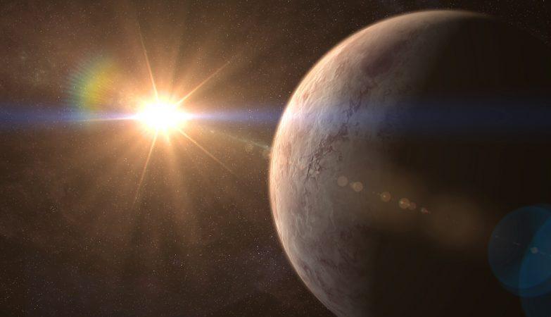 Impressão de artista do exoplaneta GJ 536 b e da estrela GJ 536