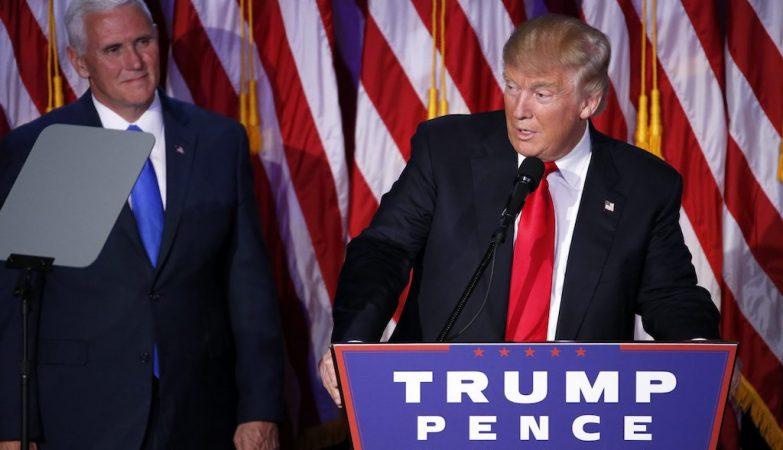 Donald Trump, o novo presidente dos EUA, durante o discurso da vitória