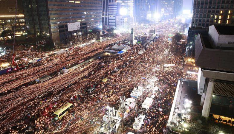 Protestos em Seul pela demissão da presidente Park Geun-hye