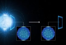 Esta conceção artística mostra como é que a radiação emitida pela superfície de uma estrela de neutrões fortemente magnetizada (à esquerda) se polariza linearmente à medida que viaja através do vácuo do espaço que envolve a estrela no seu percurso até chegar à Terra (à direita).