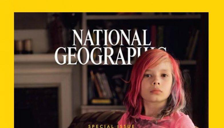 A menina transgénero Avery Jackson na capa da National Geographic