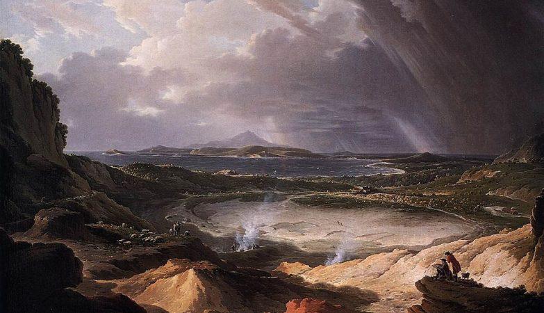 Os Campos Flégreos, na região de Nápoles, pintura de Michael Wutky, 1780
