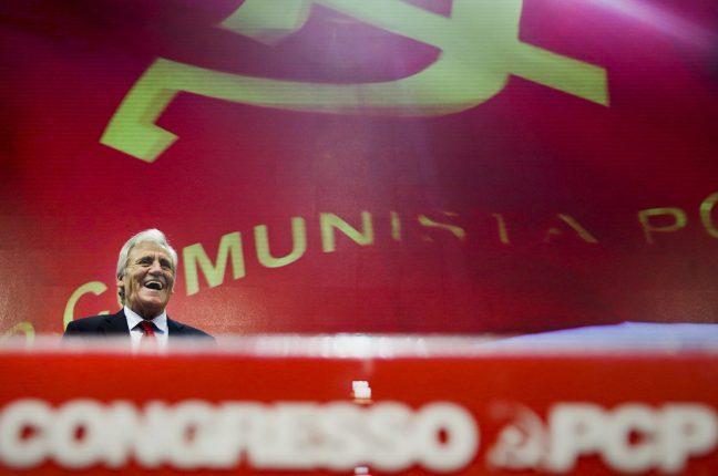 O secretário-geral do PCP, Jerónimo de Sousa, intervém na sessão de abertura do XX Congresso Nacional do PCP
