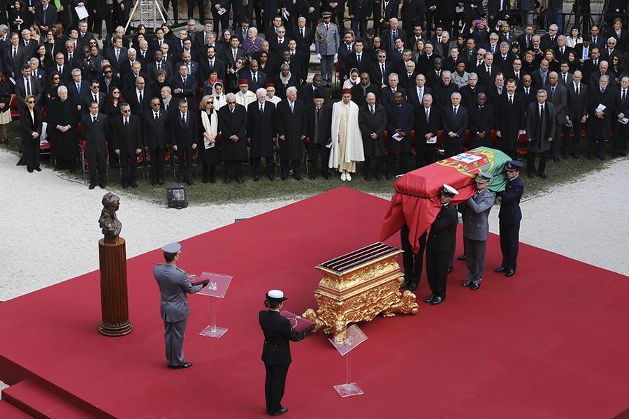 Sessão de homenagem no funeral de Mário Soares nos Claustros do Mosteiro dos Jerónimos.