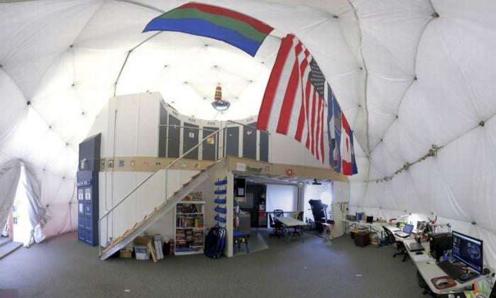 A cúpula onde os cientistas vão viver, situada no vulcão Mauna Loa