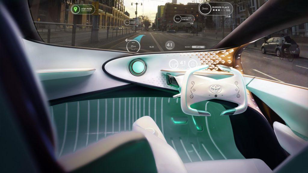 Interface do sistema Yui, assistente IA do Toyota Concept-i