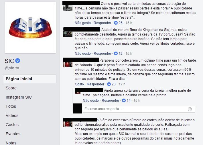 Thread no Facebook da SIC