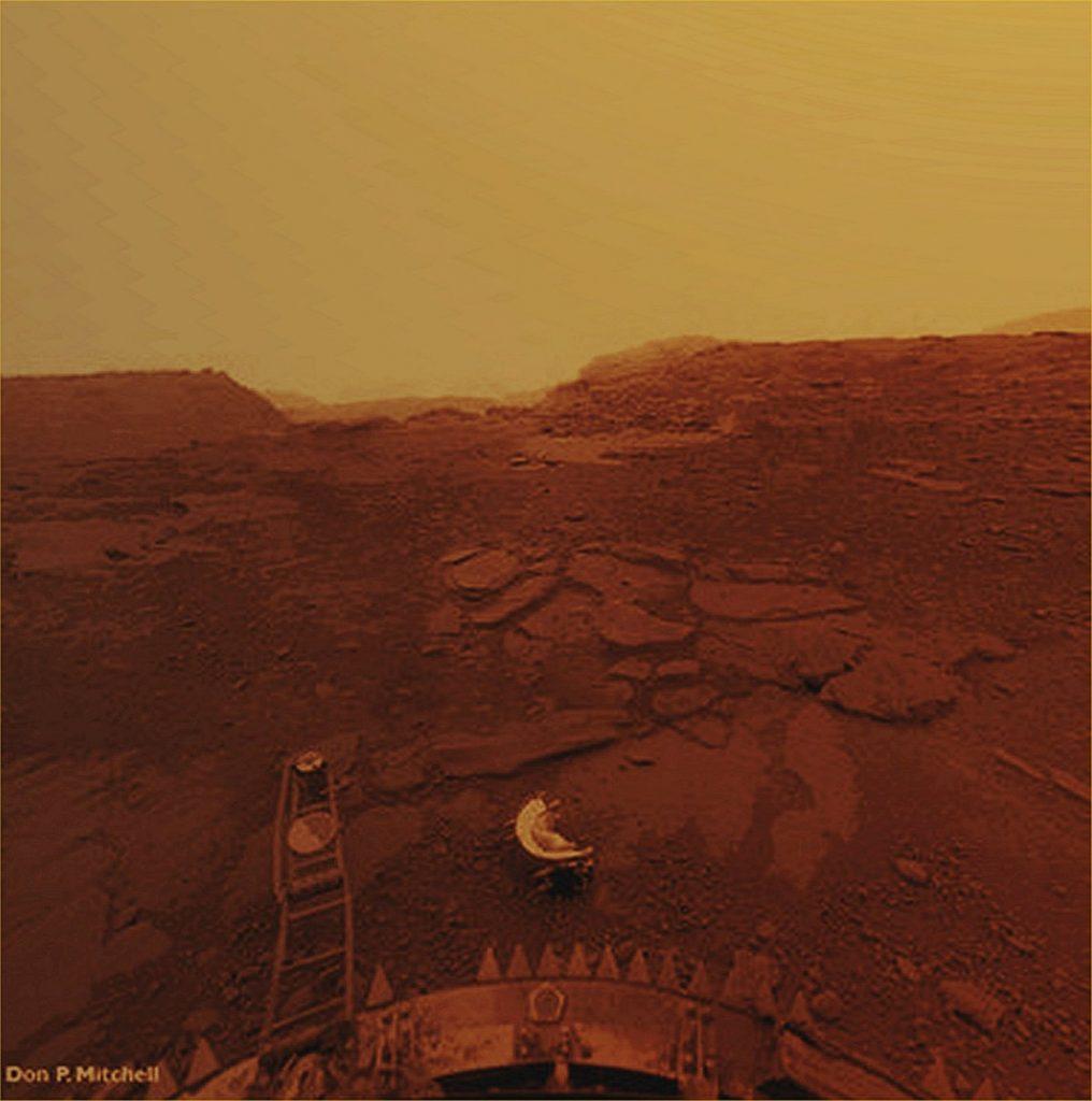 Aspecto da superfície e do céu de Vénus tal como captados pela sonda Venera 13