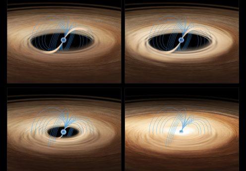 """Uma impressão de artista do processo de acreção sobre a estrela de neutrões no sistema binário MXB 1730-335, também conhecido como """"Rapid Burster""""."""