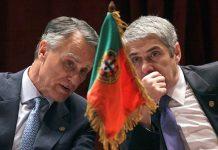 O ex-presidente da República, Aníbal Cavaco Silva, com o ex-primeiro-ministro, José Sócrates