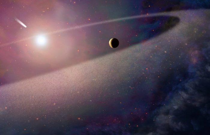 Impressão de artista que mostra um objeto parecido a um cometa gigante a cair em direção a uma anã branca