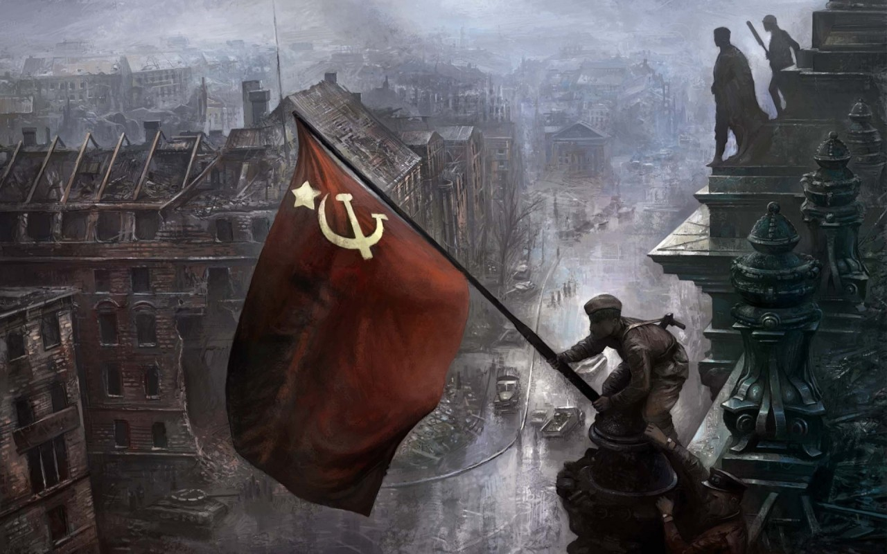 """""""Içando uma bandeira sobre o Reichstag"""", por Yevgeny Khaldei, Berlim, 2 de Maio de 1945 (reconstituição)"""