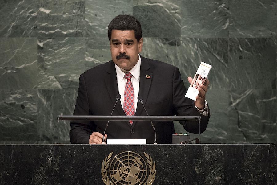 O presidente da Venezuela, Nicolás maduro, discursa na Assembleia Geral das Nações Unidas