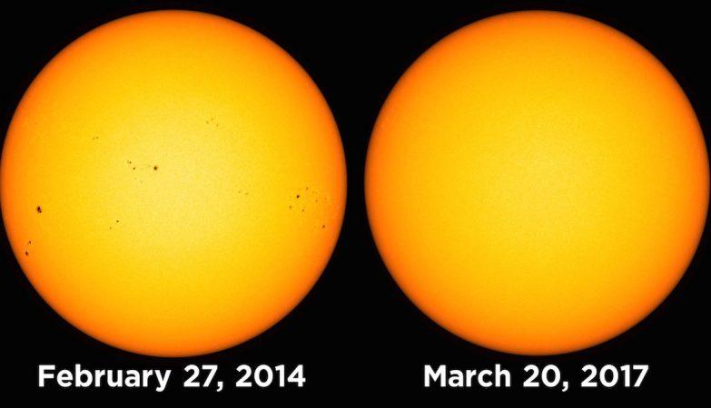 O Sol, observado pelo Solar Dynamics Observatory, da NASA, nos dias 27 de Fevereiro e 20 de Março
